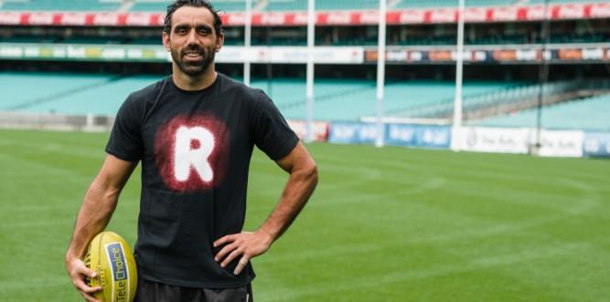 Adam Goodes in his Recognise Tshirt Photo: Heath Bennett