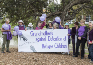 Participants at a rally for refugees, Victoria Park. Photo: Claire Mahjoub