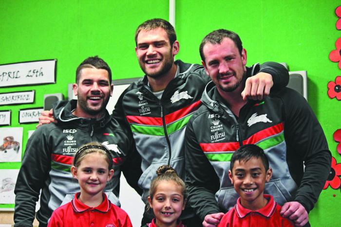 Young fans at Mt Carmel School meet Rabbitohs stars Adam Reynolds, Tim Grant and Dave Tyrrell. Photo: Lyn Turbull