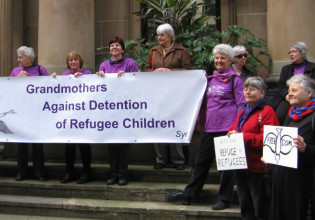 Grandmothers protest outside the Pitt Street Uniting Church. Photo: supplied