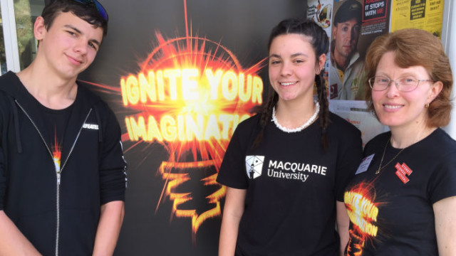High school students Lyle and Sharna with Joanne Jamie from Macquarie University. Photo: Andrew Collis