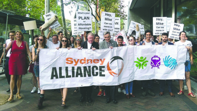 Uniting Church ministers and congregations march with the Sydney Alliance to NSW Parliament in 2015 for affordable housing Photo: Supplied