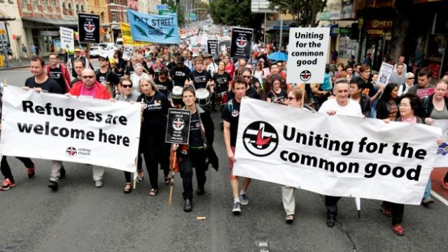 Uniting marches in the Palm Sunday Rally for Refugees, March 2016 Photo: Supplied