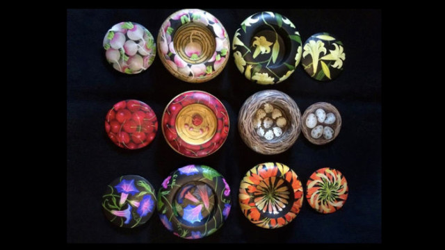 Charlotte Thodey's vivid depictions of fruit and vegetables are among the 2,500 artworks for sale in Sydney's Royal Botanical Gardens this month. Photo: Supplied