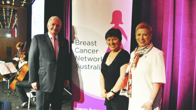 Breast cancer survivors former NSW Premier Nick Greiner and Consumer Finance Specialist Lisa Montgomery (far right) with MC Julie McCrossin at the Breast Cancer Network Australia Pink Lady Luncheon on September 22.Photo: David Reavely