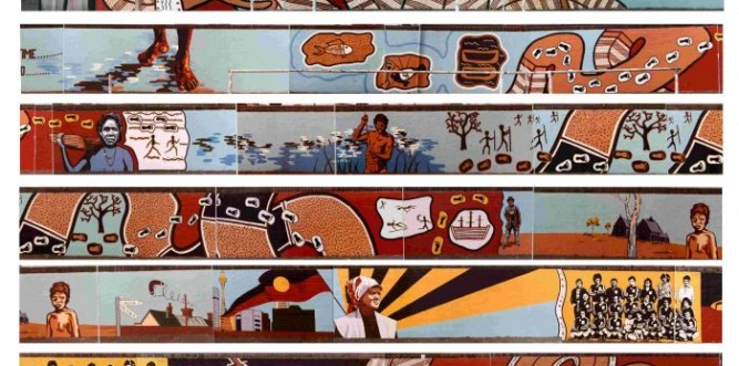 The original mural as painted in 1983 (the length of the 91metre mural has been stacked to fit in the post). Photo: Supplied