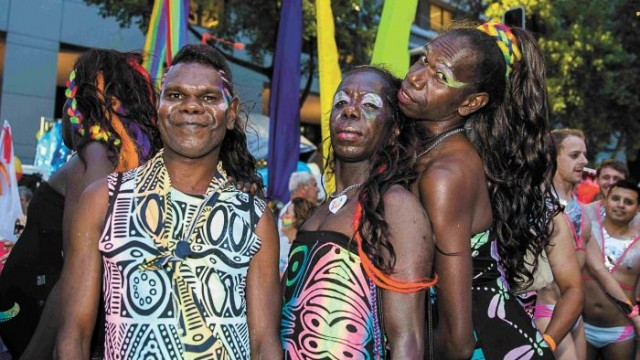 Tiwi Island Sistagirls travelled 4,000km for their first Mardi Gras. Photo: Bec Lewis