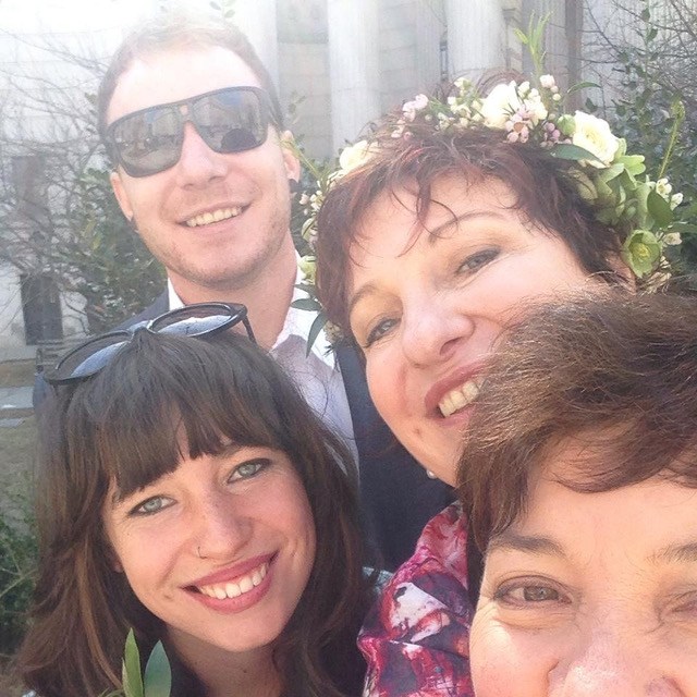 New York selfie - the happy wedding party. Photo: Julie McCrossin