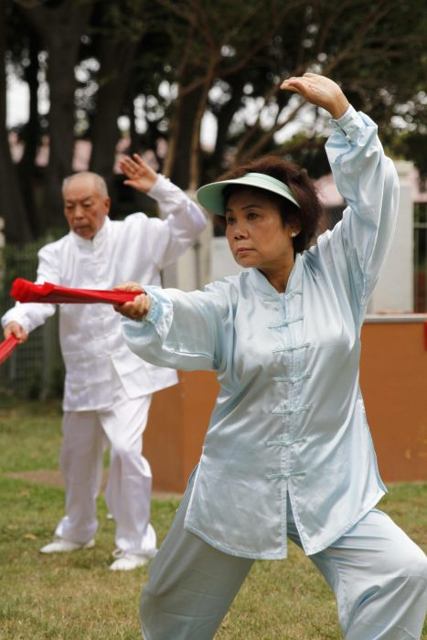 Tai Chi practitioners Lin Qiao Wu and Nancy Yang. Photo: Ashley Asphodel