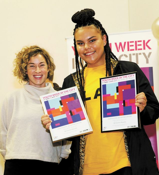 Betty Makin Award winner Mi Kaisha Masella with Cr Jess Miller Photo: Supplied