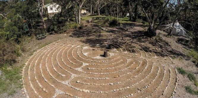 Labyrinth based on the floor design of the Chartres Cathedral at the Blue Labyrinth Bush Retreat. Photo: Lars Howlett