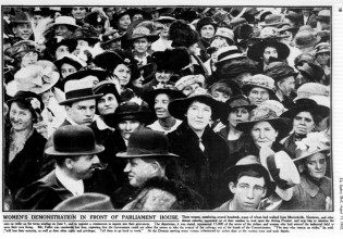 Women stormed Parliament and managed to get a meeting with Acting Premier Fuller (to no avail). Image: The Sydney Mail, August 15, 1917