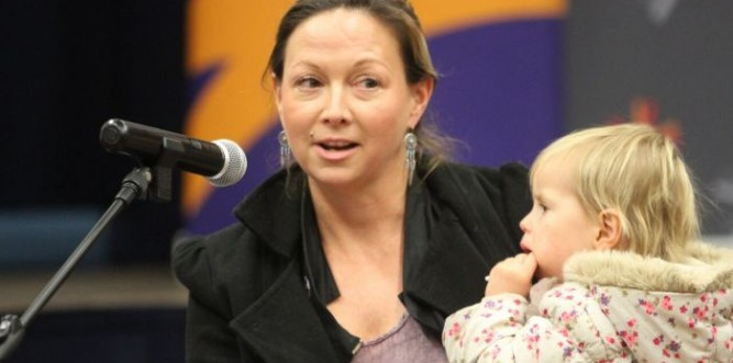 Battling renter Nadine Carrick speaks out for affordable rental policy Photo: Shane Gillard, UCA Assembly