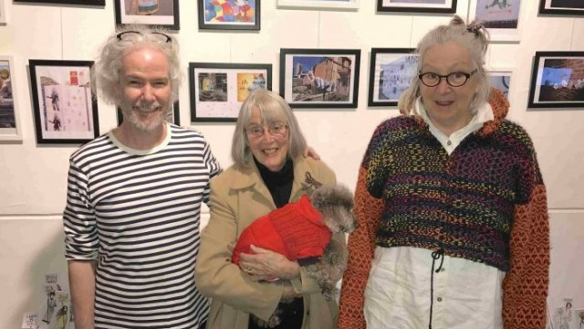 Nicholas Beckett, Catherine Skipper and Mex Purcell with some of their work Photo: Andrew Collis