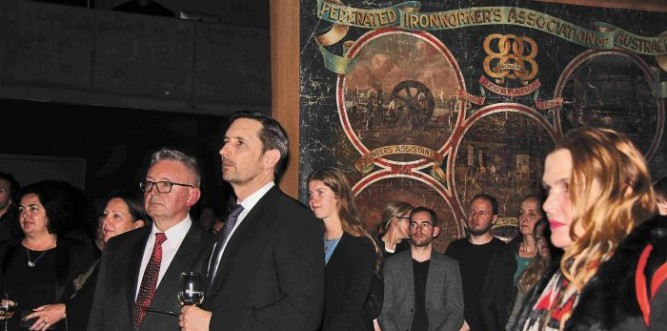 Minister for the Arts Don Harwin (centre with glasses) opened the exhibition Photo: Lyn Turnbull