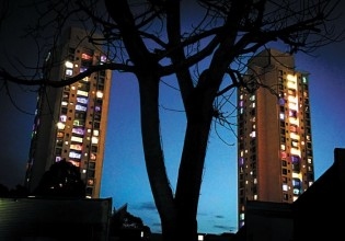 Coloured lights in the Matavai and Turanga buildings Photo: Andrew Collis