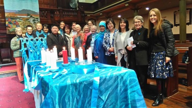 Participants in the multi-faith service to mark Blue Knot Day 2016 Photo: supplied