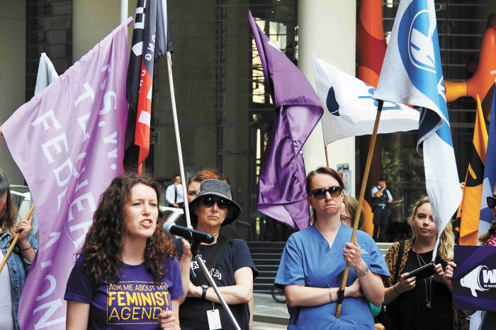 Protesters at the rally in support of domestic violence leave. Photo: Lyn Turnbull