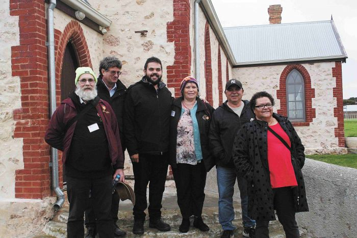 Ian Dempster, John Goss, Raukkan CEO Jordan Sumner, Aunty Di Torrens, Uncle Clyde Rigney and Aunty Rose Rigney at Raukkan Church. Photo: Miriam Pepper