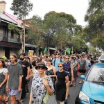 January 26 saw a rally for Indigenous sovereighty and justice make its way along Lawson Street Redfern, via Broadway to Victoria Park for the Yabun Festival. Police estimate that 10,000 people took part in the march. Photo: Geoff Turnbull