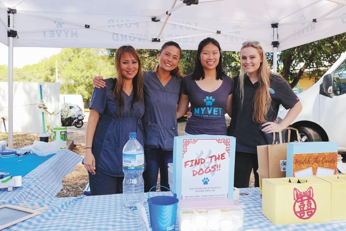 My Vet Animal Hospital representatives Audrey, Cherlene, Giselle and Brie at the Street Paws festival. Photo: Andrew Collis