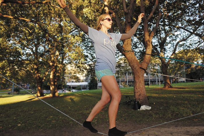 Cat on the slackline, Prince Alfred Park, Surry Hills. Photo: Andrew Collis