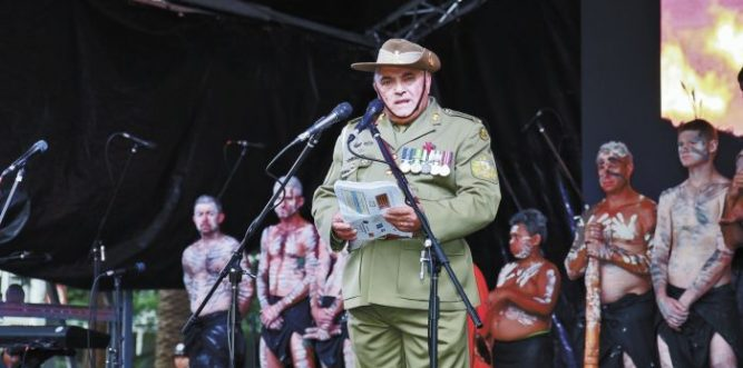 Warrant Officer Class One Colin Watego OAM Royal Regiment of Australian Artillery Defence, who gave the Ode. Photo: Ashley Asphodel