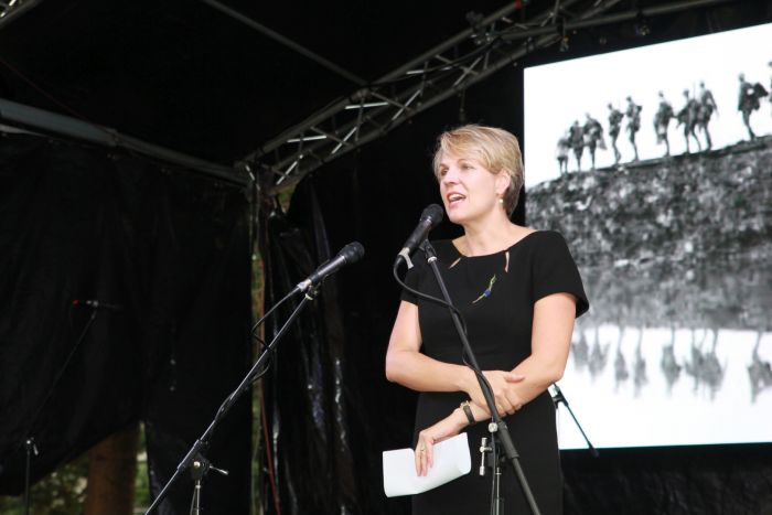 Tanya Plibersek addresses the gathering at Redfern Park. Photo: Ashley Asphodel