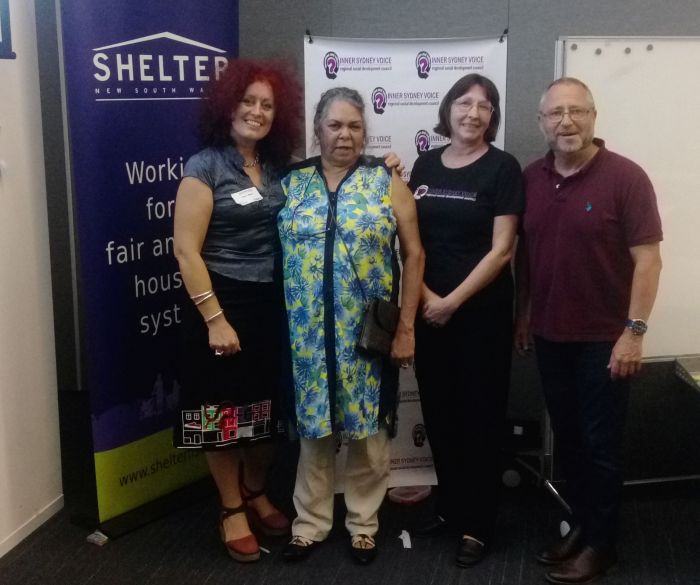 Michael Darcy (right) with Karen Walsh, Bronwyn Penrith and Charmaine Jones (Social Mix Workshop in Waterloo, April 11) Photo: Ned Cutcher