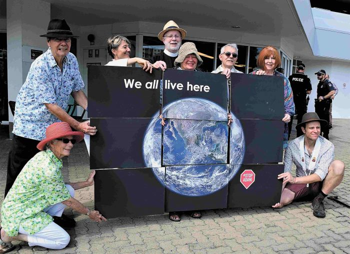 Faith leaders and locals outside Adani headquarters in Townsville on April 18. Photo: Supplied