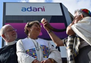 Faith leaders outside Adani headquarters in Townsville on April 18. Photo: Supplied