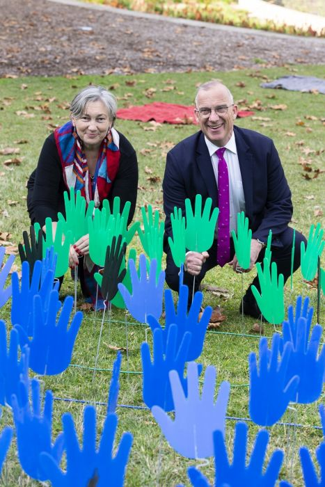 Deputy Vice Chancellor (Indigenous Strategy and Services) Prof. Juanita Sherwood and Vice Chancellor Dr Michael Spence, with Hands of Reconciliation. Photo: Supplied