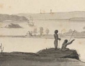 Detail from North-West View, taken from the Rocks above Sydney, in New-South-Wales, for John White, Esq, c.1794. Thomas Watling (c.1762-?) Wash drawing.  DG V1/13, Dixson Library, Courtesy of State Library of New South Wales, Sydney.