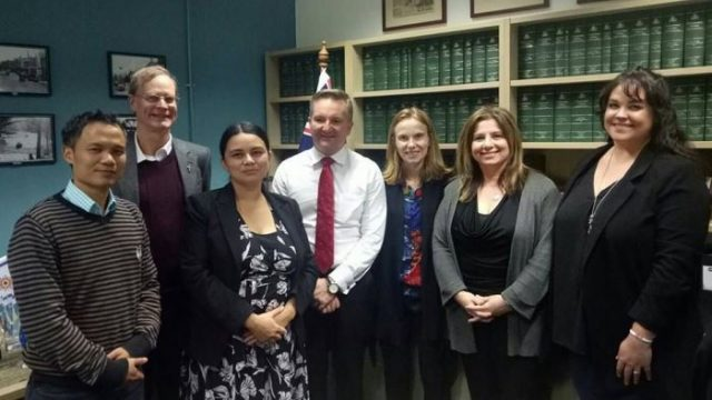 Alex Hogan from the Social Justice Forum and local constituents from other faiths and civil society meet with McMahon MP Chris Bowen to discuss a fair process and permanent protection for people seeking asylum. Photo: supplied