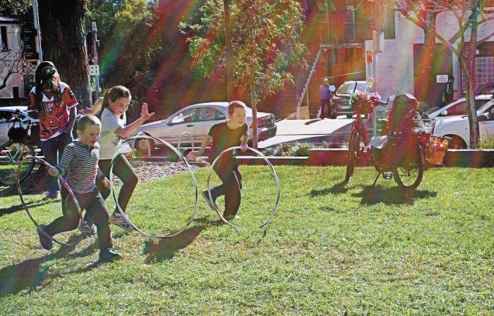 Hoop race at SSH volunteers' winter picnic. Photo: Kat Hines