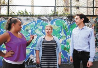 Laura Kelly (centre) with colleagues Thomas Chailloux (right) and Jinny-Jane Smith. Photo: Andrew Collis