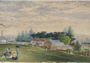 """Photo: Dixson Library, State Library of NSW Caption: """"Baptist Gardens, Redfern 1877"""", attributed to C.E. Winn"""
