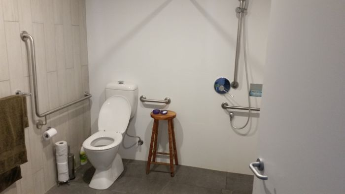 Accessable bathroom in newly built public housing unit. Photo: Denis Doherty