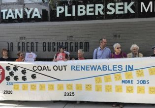Protesters outside the office of MP Tanya Plibersek Photo: Jason Wu