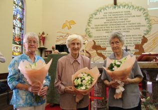 Mass on Sunday January 27 at St Vincents Redfern to mark the closure of the Gathering Place was attended by three of the sisters who lived there: Sr Patricia Snudden (Brown Josephite), Sr Mary McGowan (OLSH) and Sr Esmey Hercovitch (Sacred Heart). Photo: Lyn Turnbull