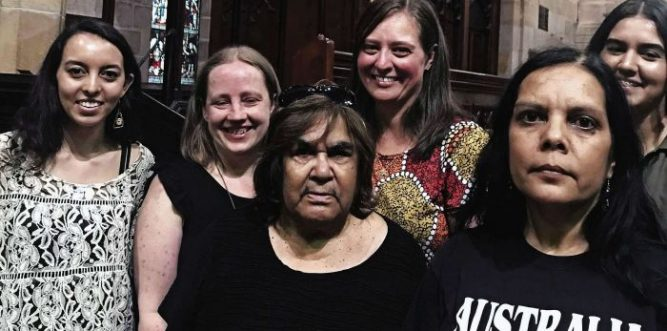 Aunty Jean Phillips and Brooke Prentis (front centre and right) with Common Grace participants at St John's Darlinghurst. Photo: supplied