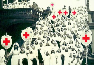On Empire Day, April 15, 1922, at the Red Cross Exhibition in Sydney, their Excellencies the Governor-General of Australia, Henry Forster, and his wife, Lady Rachel Forster, form a guard of honour with Junior Red Cross members and Voluntary Aid Detachment nurses (Photo: Supplied)