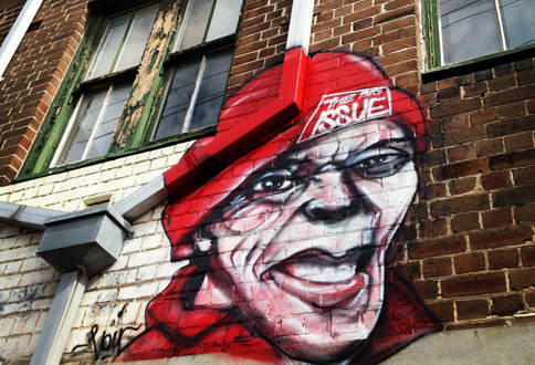 Detail of the Big Issue mural in Little Eveleigh Street (Photo: Andrew Collis)